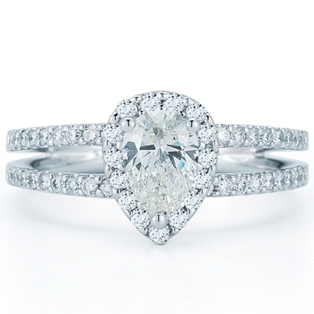 1.17ctw Pear Shape Diamond Engagement Ring, Platinum