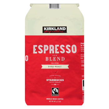 Kirkland Signature Starbucks Fairtrade Espresso Blend Whole Bean Coffee, 907g