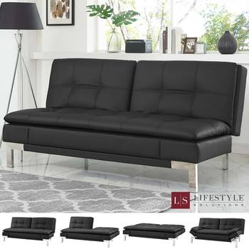 Lifestyle Vienna Black Bonded Leather Euro Lounger with Adjustable Arm and Back Rest