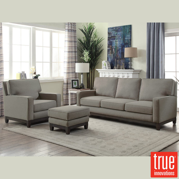 Melinda Grey Fabric 3 Seater Sofa, Chair & Ottoman Set | Costco UK