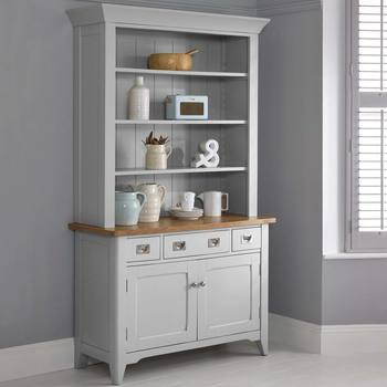 Bordeaux Painted Light Grey Wooden Sideboard With Open Shelving