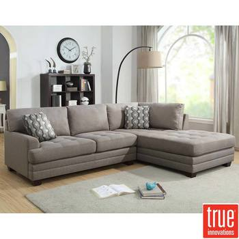 True Innovations Grey Fabric Sofa Chaise with 2 Accent Pillows, Right-facing