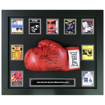 Everalast Boxing Glove Signed by 8 Muhammad Ali Opponents, Framed