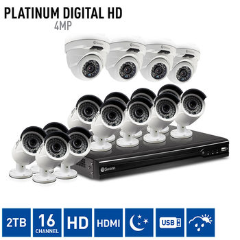 Swann NVR16-7400 16 Channel Network Video Recorder with 12 x NHD-818 Bullet & 4 x NHD-819 Dome Cameras