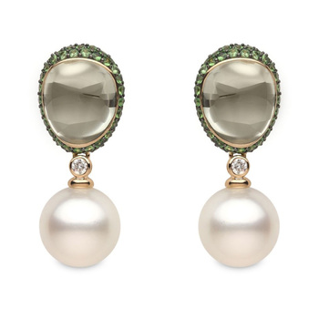 14.4-14.5mm White South Sea Pearl, 18.21ctw Green Amethyst, 0.19ctw Diamond and 4.09ctw Tsavorite Earrings, 18ct Rose Gold