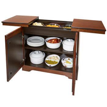 Hostess Heated Trolley with Antique Oak Veneer Finish, HL6242AO