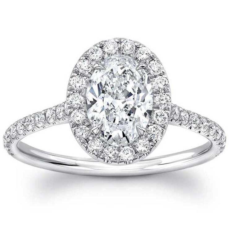 1.40ctw Oval Cut Diamond Engagement Ring, Platinum