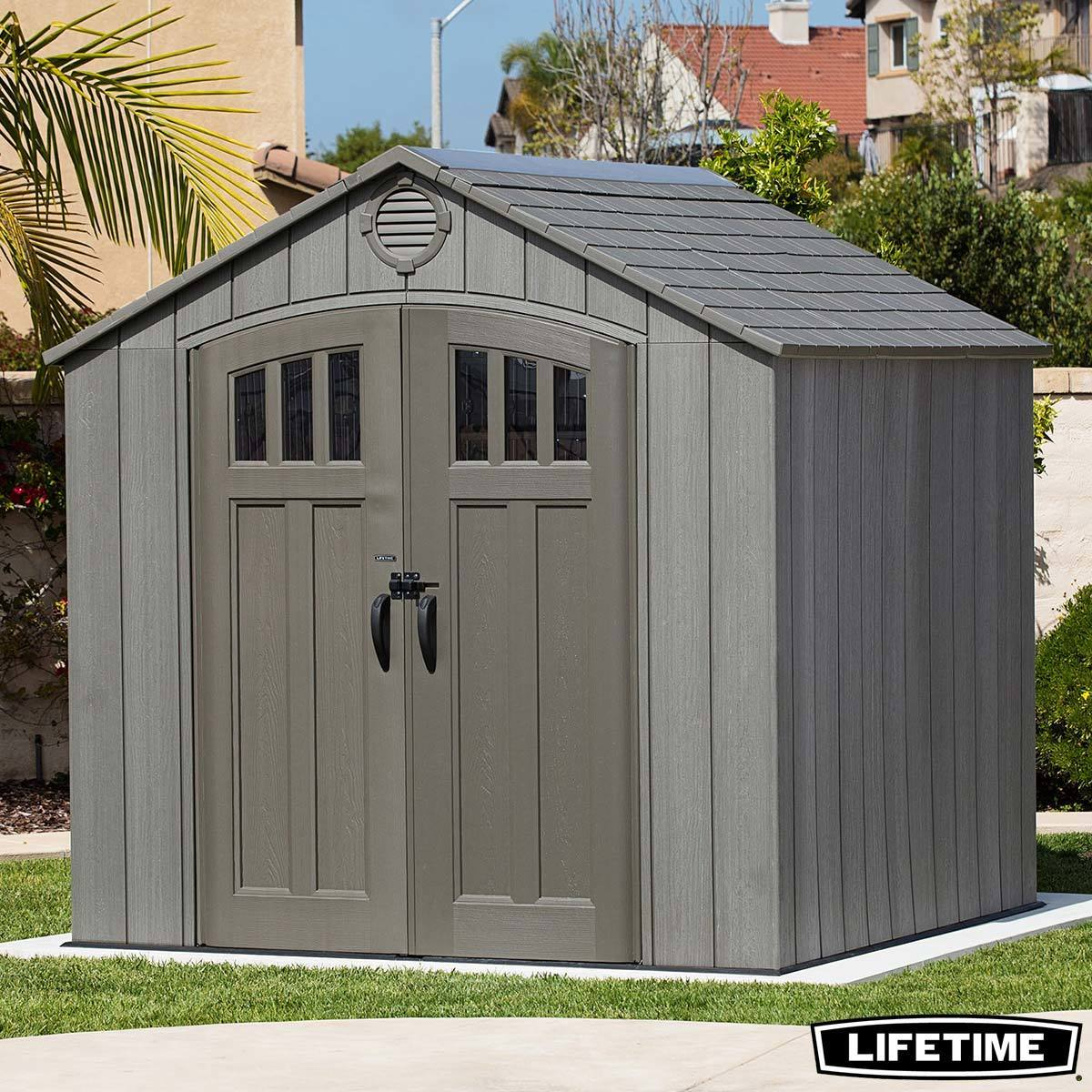 Lifetime 8ft X 7ft 5 2 4 X 2 3m Simulated Wood Look Storage Shed With 1 Ridge Skylight And 3 Window Panes Per Door Costco Uk