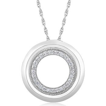 0.15ctw Round Brilliant Cut Diamond Circle Pendant, 18ct White Gold