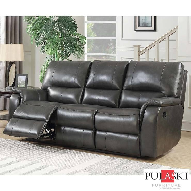 Pulaski 3 Seater Grey Leather Manual Recliner Sofa