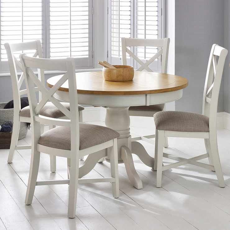 bordeaux painted ivory round extending dining table 4 chairs seats 4 6 costco uk. Black Bedroom Furniture Sets. Home Design Ideas