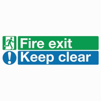 'Fire Exit Keep Clear' 150 x 450mm Self Adhesive Vinyl Sign