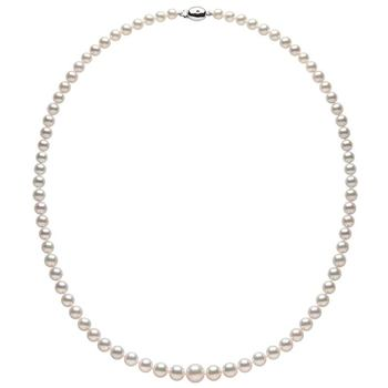 5-8mm Graduated Akoya Pearl and 0.01ct Diamond Necklace, 18ct White Gold