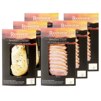 Rannoch Smokery Sliced Smoked Duck Breast & Whole Smoked Chicken Breast, 765g Minimum Weight (Serves 6-12 people)