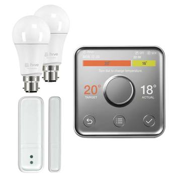 Hive V2 Active Heating Wireless Thermostat with Professional Installation, 2 x Hive Active Dimmable Bayonet Lights and Hive Window/Door Sensor