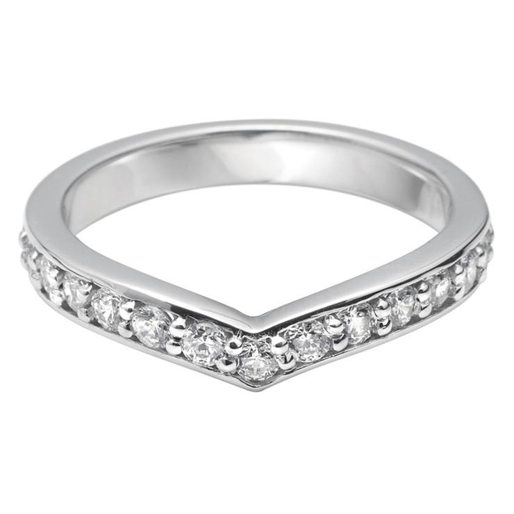 Ladies 0 45ctw Diamond V Shape Wedding Band 18ct White Gold In 3 Sizes Costco Uk
