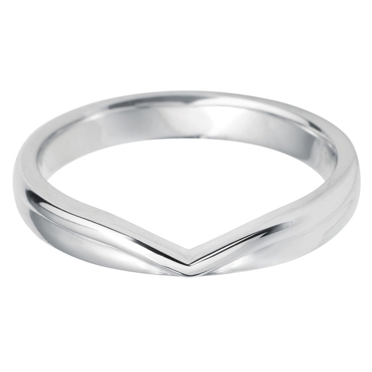 White Gold Wedding Band.Ladies V Shape 18ct White Gold Wedding Band In 3 Sizes Costco Uk