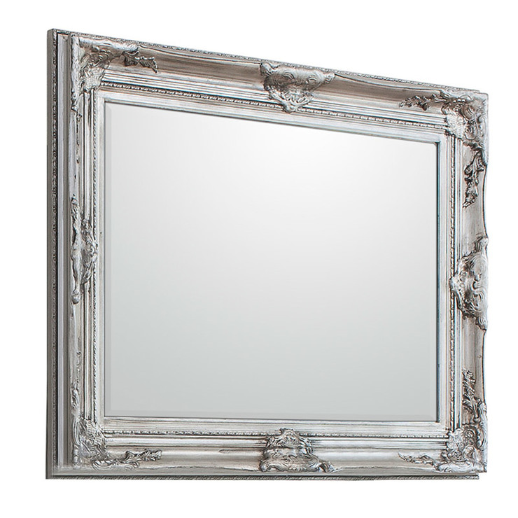 Gallery harrow rectangular silver mirror 116cm x 85cm - Silver bathroom mirror rectangular ...