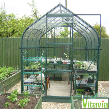 "Installed Vitavia Washington 3800 6ft 2"" x 6ft 2"" (1.9 x 1.9 m) Greenhouse Package"