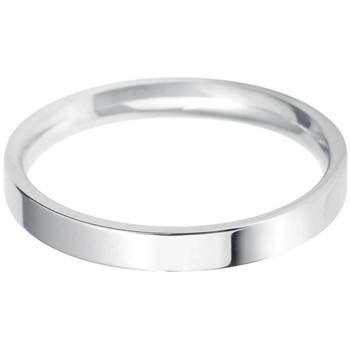 Ladies 2.5mm Flat Court Wedding Band, 18ct White Gold in 3 Sizes