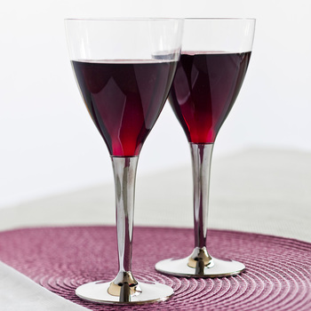Sabert 100 Disposable Plastic Wine Glasses with Silver Stem
