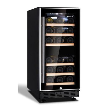Husky 26 Bottle Signature Dual Zone Wine Cooler in Black with an Aluminium Trim Door, HUS-ZY3-D-NS-26