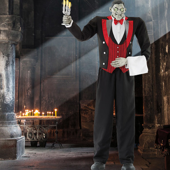 "Halloween 6ft 11"" (210.8cm) Animated Butler of Macabre Manor with Lights and Sound"