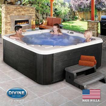 Divine Hot Tubs Langley Deluxe Lounger 76-Jet 5 Person Hot Tub - Delivered and Installed