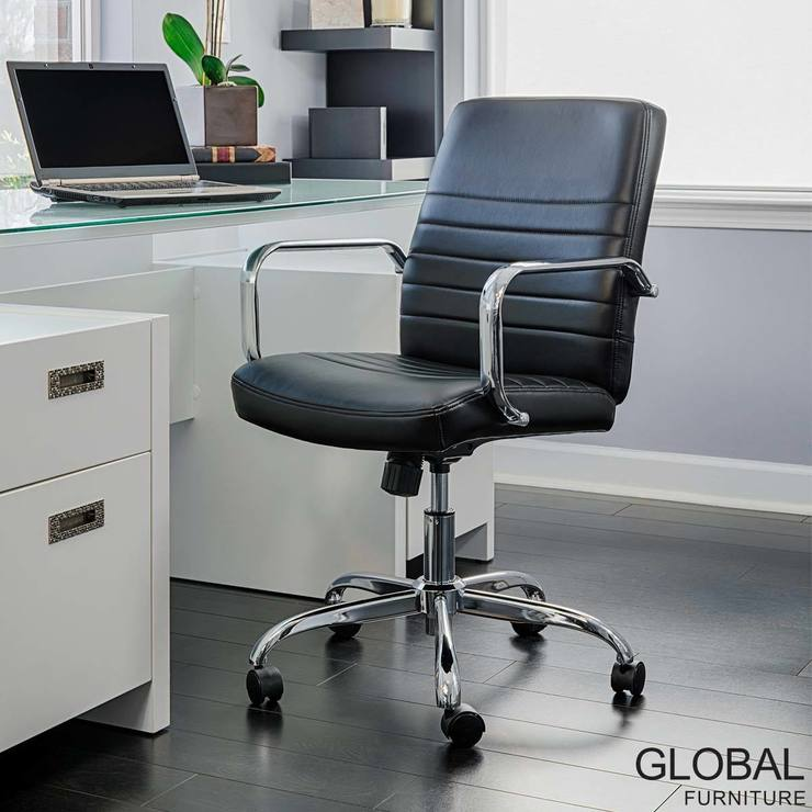 Global Furniture Bonded Leather Task Chair In Black