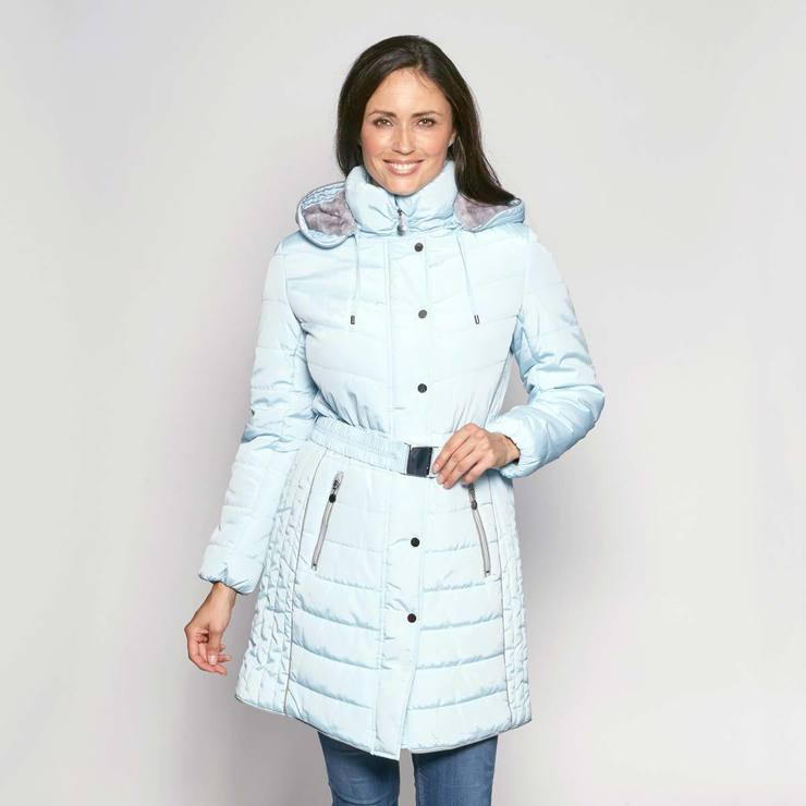 157667747ba7f David Barry Women s Belted and Hooded Quilted Coat in Pale Blue