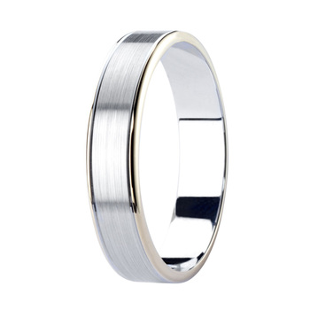 Gents 4.5mm Two Tone Wedding Band, 18ct White & Yellow Gold in 3 Sizes