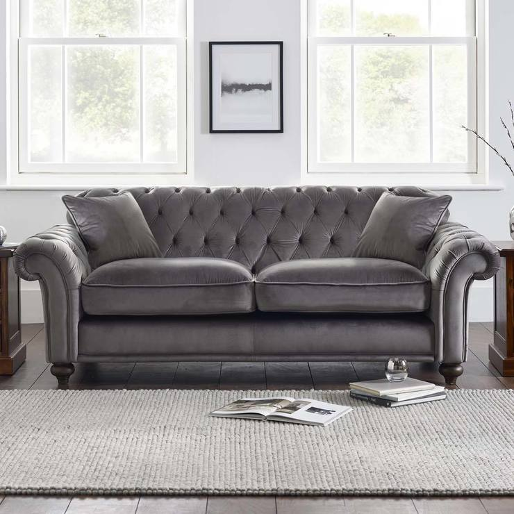 Bordeaux Button Back 3 Seater Grey Velvet Sofa With 2 Accent Pillows