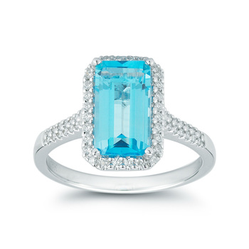 1.5ctw Blue Topaz and 0.2ctw Round Brilliant Cut Diamond Ring, 18ct White Gold