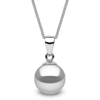 8.5-9mm Cultured Freshwater Grey Shade Pearl in 18ct White Gold Necklace