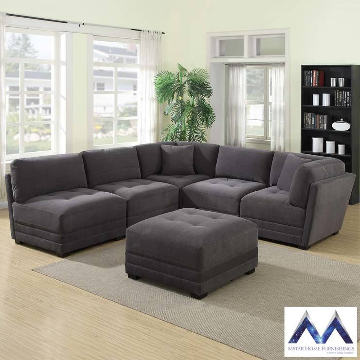 Mstar International 6 Piece Modular Grey Fabric Sectional Sofa Costco Uk