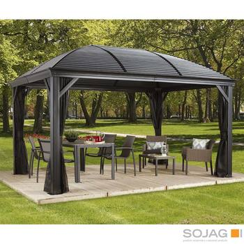 Sojag Moreno 10ft x 16ft (2.89 x 4.74m) Aluminium Frame Sun Shelter with Galvanised Steel Roof + Insect Netting