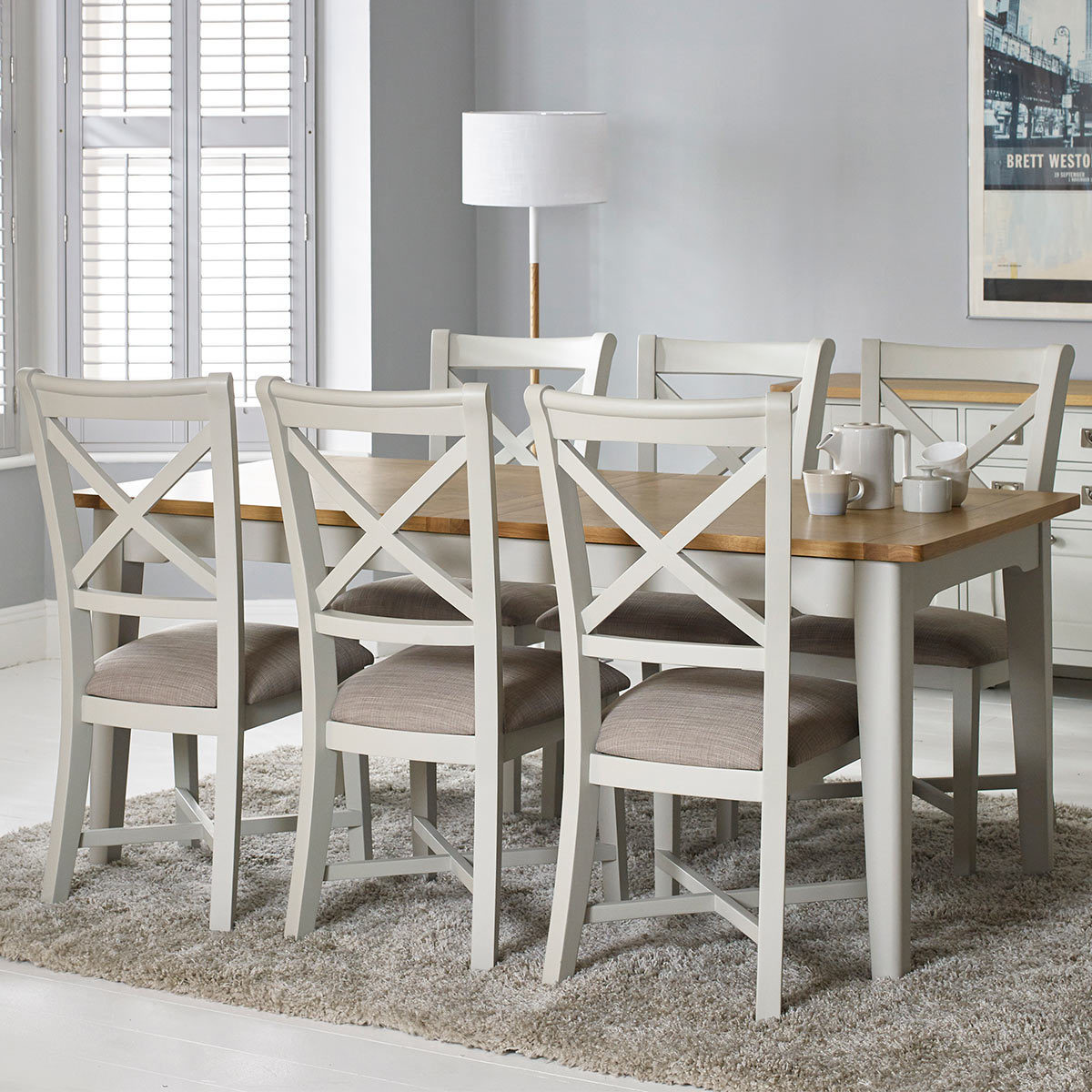 Bordeaux Painted Ivory Large Extending Dining Table 6 Chairs Seats 6 8 Costco Uk