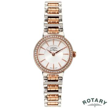 Rotary Lucerne Ladies Two Tone Rose Gold Swiss Watch LB90083/02