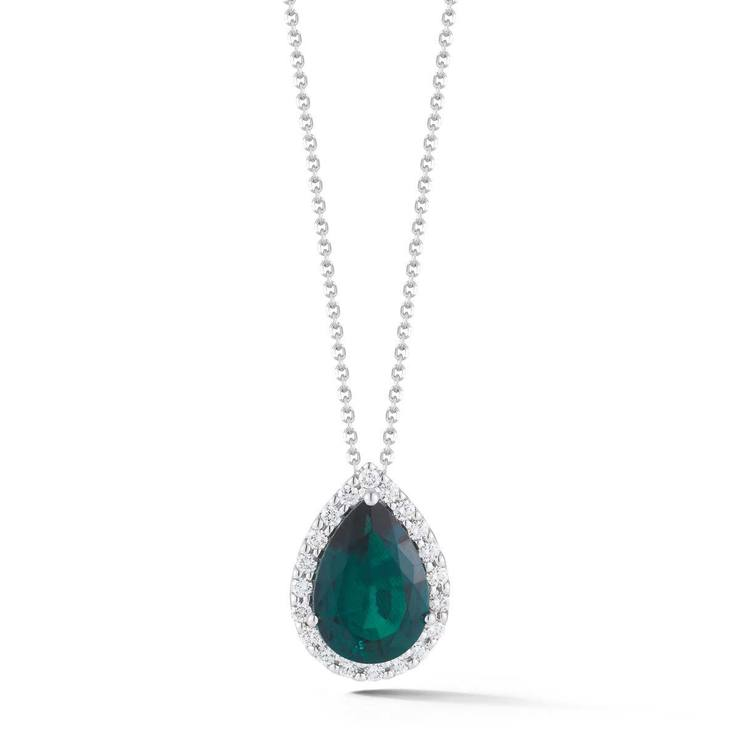 emerald brilliant pendant p gold cut pear diamond gemstone lab and necklaces round white
