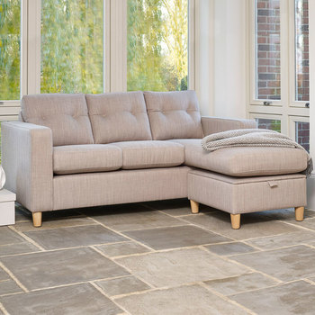 Metro Fabric Sofa Chaise with Storage, Linen