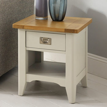 Bordeaux Painted Ivory 1 Drawer Lamp Table