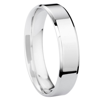 Gents 5mm Bevelled Edge, Matte Centre Wedding Band, Platinum in 3 Sizes