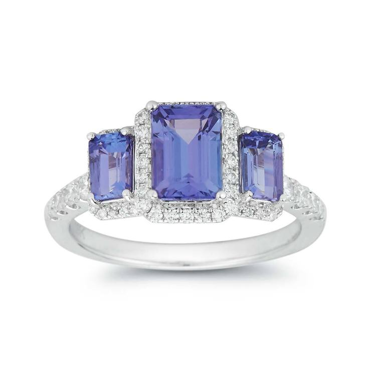 white tanzanite emerald side and cut stone ring gold diamond