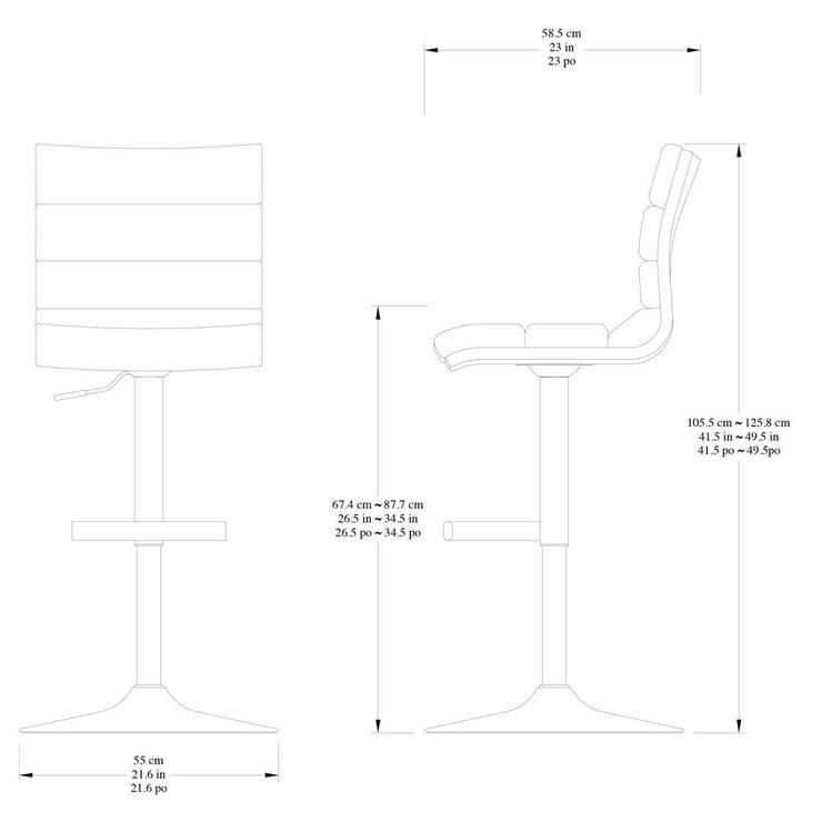 Bayside Furnishings Black Bonded Leather Gas Lift Bar Stool Costco Uk