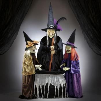 "Halloween 5ft 9"" (175.3cm) Animated Wicked Stitchwick Sisters with Sound"