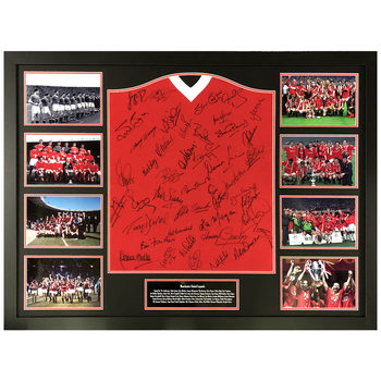 Manchester United Legends Signed Framed 1958 Football Shirt with 33 Signatures