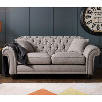 Bordeaux Button Back 2 Seater Grey Fabric Sofa with 2 Accent Pillows