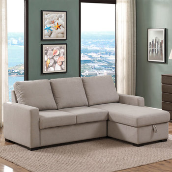 Pulaski Newton Fabric Chaise Sofa Bed with Storage