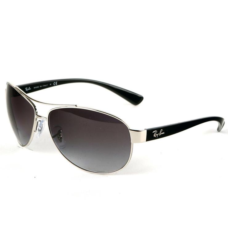 5a9e9fe922 Ray-Ban Aviator Silver   Black Sunglasses with Grey Lenses