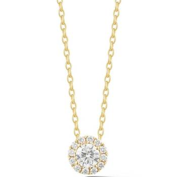 0.43ctw Round Brilliant Cut Diamond Halo Pendant, 18ct Yellow Gold